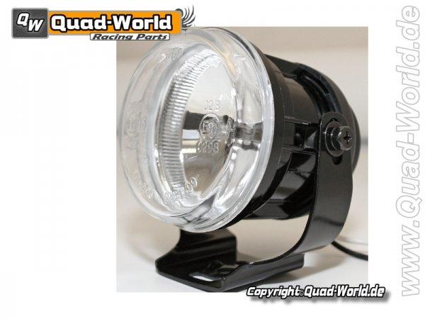Fernscheinwerfer rund schwarzes Metallgehäuse mit Halter Glas transparent E-gepr