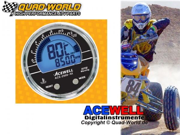 Acewell ACE-2900S Drehzahlmesser Temp. EINBAU Ring Schwarz