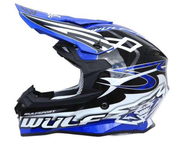 Cross Helm Sceptre schwarz/blau Motorrad Quad ATV Bike Enduro MX BMX Helm
