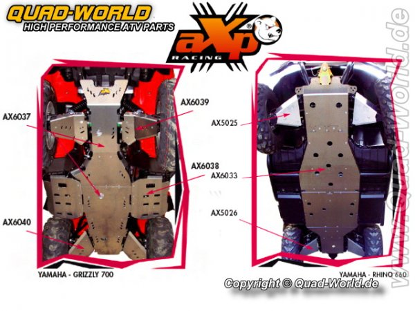 AXP ATV Motorschutz Skidplate Bombardier Can Am OUTLANDER 800 COURT 03- Poutre Alu (6mm)