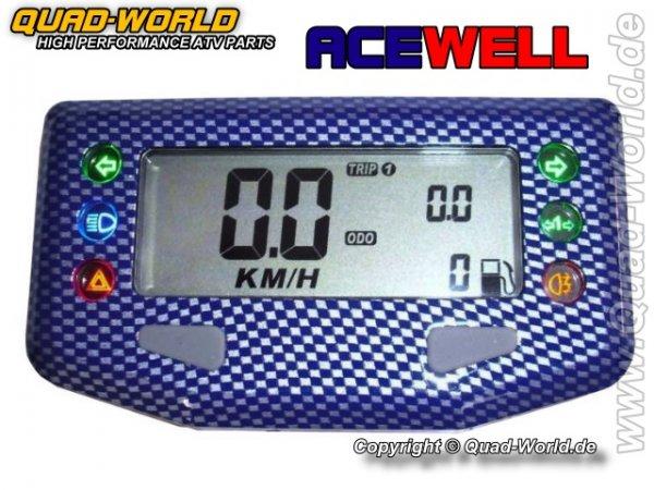 Acewell Digital Tacho ACE-257CB Carbon Blau