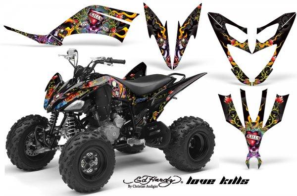 Grafik Kit Dekor Ed Hardy Love Kills Yamaha YFM 250 R Quad ATV Graphic Kit