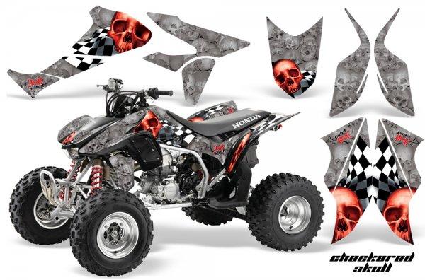 Grafik Kit Dekor Checkered Skull Honda TRX 450R 04-11 Quad ATV Graphic Kit