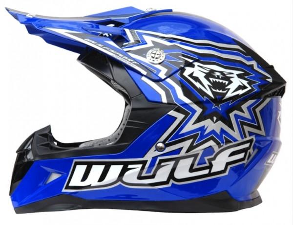 Kinder Cross Helm Flite-Xtra XL (53-54cm) Blau Motorrad Quad Bike Enduro MX BMX Helm