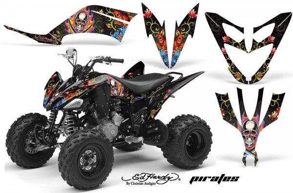 Grafik Kit Dekor Ed Hardy Pirates Yamaha YFM 250 R Quad ATV Graphic Kit