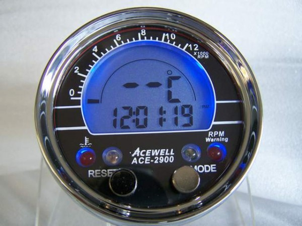 Acewell ACE-2900AP Drehzahlmesser Temp. AUFBAU Silber