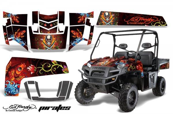 Grafik Kit Dekor Ed Hardy Pirates Polaris Ranger XP 500/700 4X4 UTV Graphic Kit