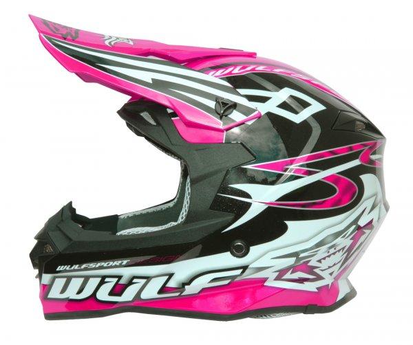 Cross Helm Sceptre schwarz/pink Motorrad Quad ATV Bike Enduro MX BMX Helm