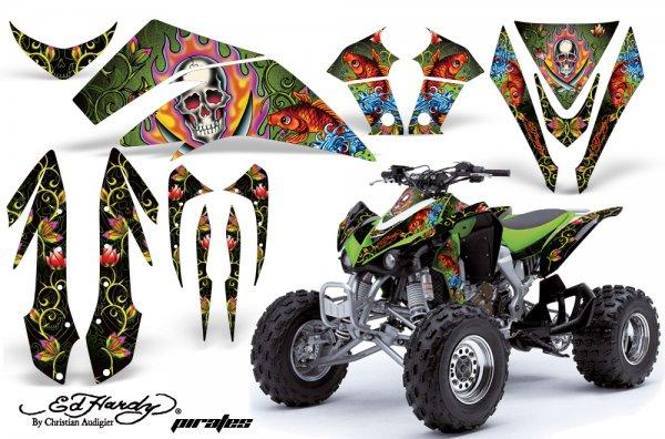 Grafik Kit Dekor Ed Hardy Pirates Kawasaki KFX 450 Quad ATV Graphic Kit