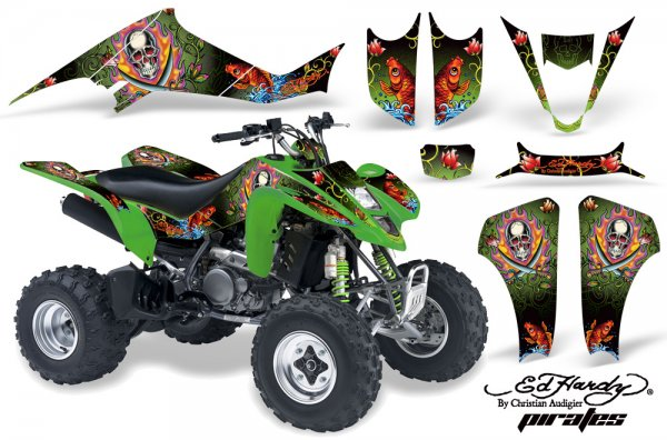 Grafik Kit Dekor Ed Hardy Pirates Kawasaki KFX 400 Quad ATV Graphic Kit