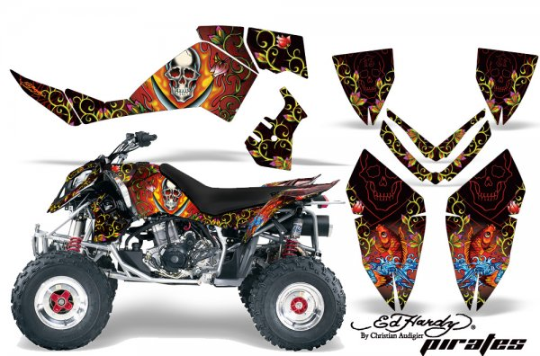 Grafik Kit Dekor Ed Hardy Pirates Polaris Outlaw 450/500/525 06-08 Quad ATV Grap