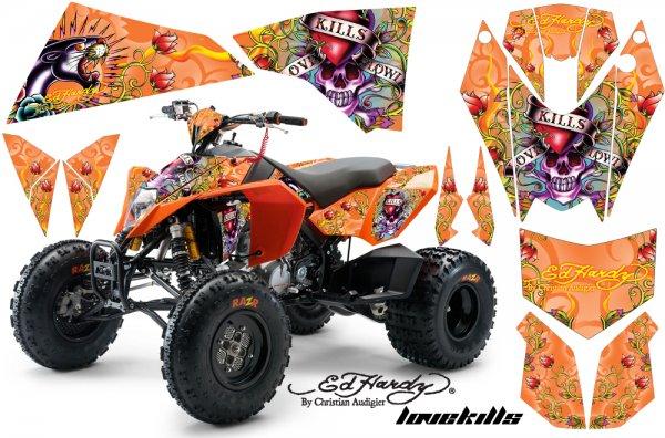 Grafik Kit Dekor Ed Hardy Love Kills KTM 450/505/525 Quad ATV Graphic Kit