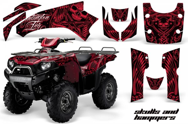 Grafik Kit Dekor Skulls & Hammers Kawasaki Brute Force 650i Quad ATV Graphic Kit
