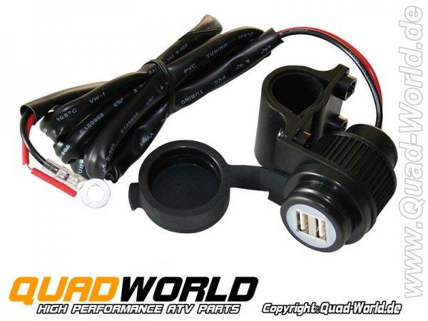2-fach USB Steckdose für Quad ATV oder Motorrad Universal