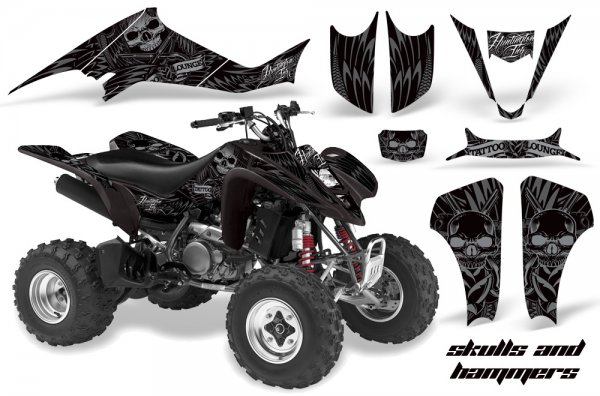 Grafik Kit Dekor Skulls & Hammers Kawasaki KFX 400 Quad ATV Graphic Kit