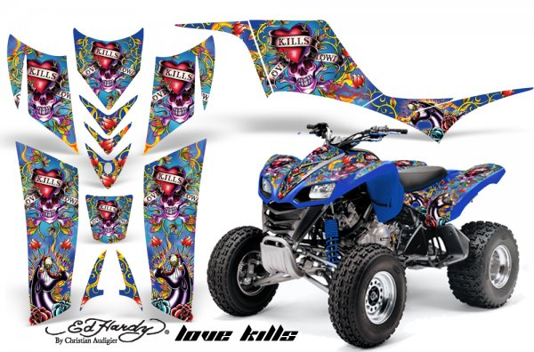Grafik Kit Dekor Ed Hardy Love Kills Kawasaki KFX 700 Quad ATV Graphic Kit