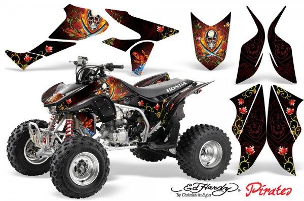 Grafik Kit Dekor Ed Hardy Pirates Honda TRX 450R 04-11 Quad ATV Graphic Kit