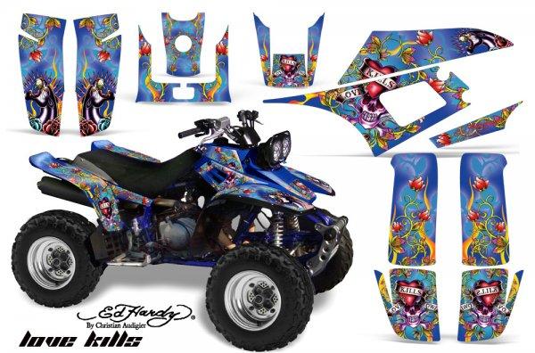 Grafik Kit Dekor Ed Hardy Love Kills Yamaha YFM 350 Warrior Quad ATV Graphic Kit