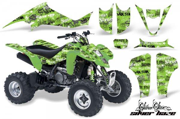 Grafik Kit Dekor Silver Star Silver Haze Kawasaki KFX 400 Quad ATV Graphic Kit