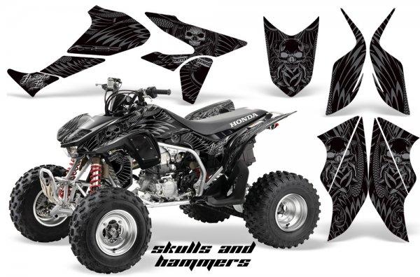 Grafik Kit Dekor Skulls & Hammers Honda TRX 450R 04-11 Quad ATV Graphic Kit