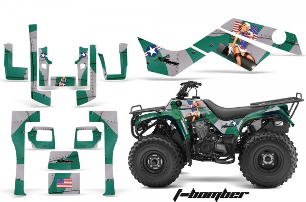 Grafik Kit Dekor T-Bomber Kawasaki Bayou 250/300 Quad ATV Graphic Kit
