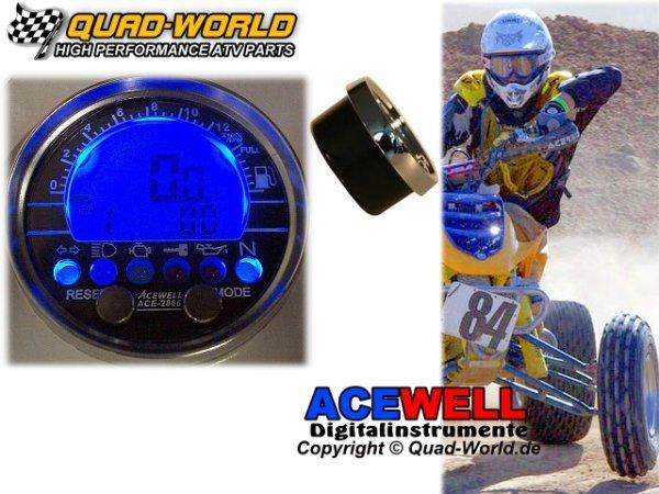 Acewell ACE-2853 Tacho u. Drehzahlmesser EINBAU Chromring