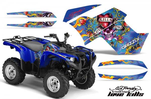 Grafik Kit Dekor Ed Hardy Love Kills Yamaha 700/550 Grizzly Quad ATV Graphic Kit