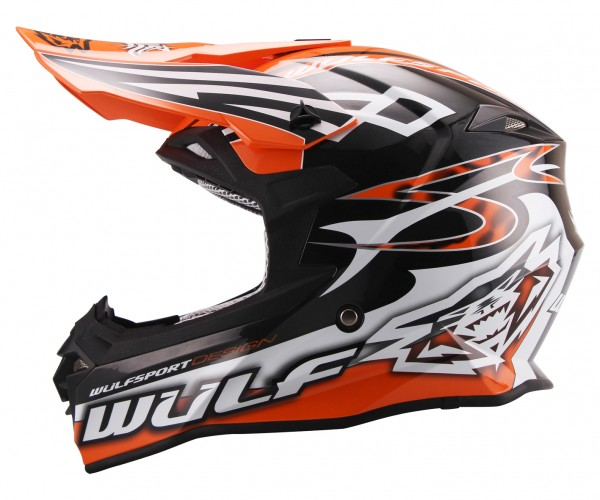 Cross Helm Sceptre schwarz/orange Motorrad Quad ATV Bike Enduro MX BMX Helm