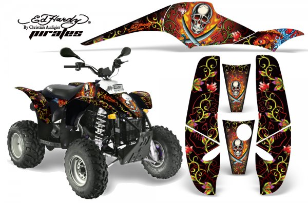Grafik Kit Dekor Ed Hardy Pirates Polaris Scrambler,Trailblazer 200/400/500 Quad ATV Graphic Kit