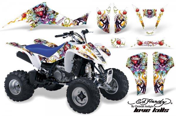 Grafik Kit Dekor Ed Hardy Love Kills Suzuki LTZ 400 04-08 Quad ATV Graphic Kit