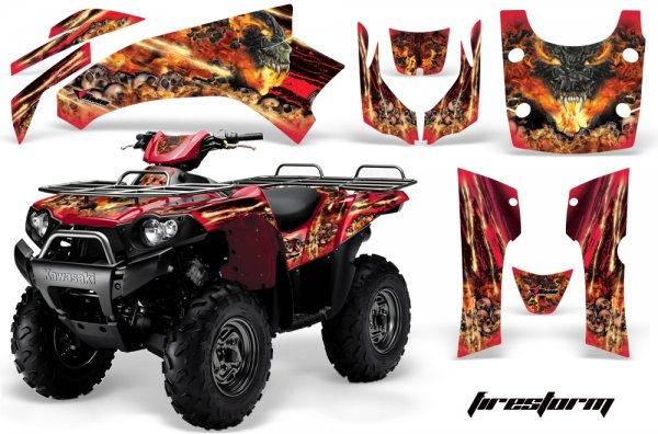 Grafik Kit Dekor Firestorm Kawasaki Brute Force 650i Quad ATV Graphic Kit
