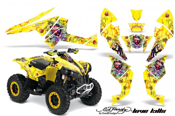 Grafik Kit Dekor Ed Hardy Love Kills Can Am Renegade 800x 800r Quad ATV Graphic Kit