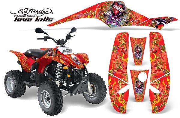 Grafik Kit Dekor Ed Hardy Love Kills Polaris Scrambler,Trailblazer 200/400/500 Quad ATV Graphic Kit