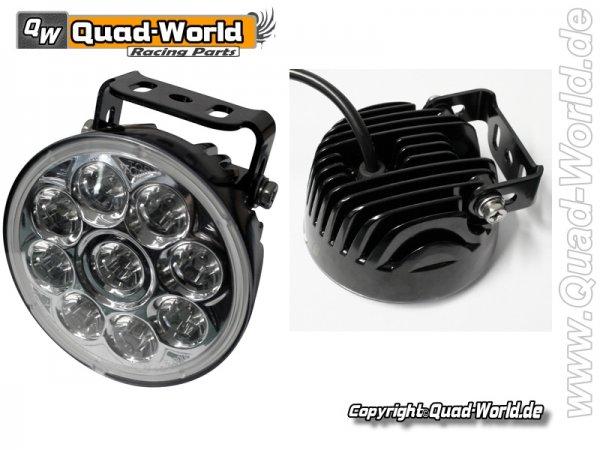 LED Fernscheinwerfer rund Gehäuse mit Kühlrippen und Universalhalter 9 Power LED