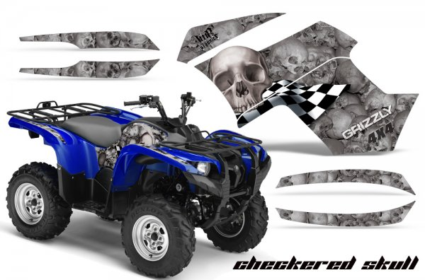 Grafik Kit Dekor Checkered Skull Yamaha 700/550 Grizzly Quad ATV Graphic Kit