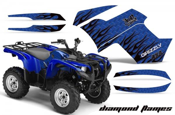 Grafik Kit Dekor Diamond Flames Yamaha 700/550 Grizzly Quad ATV Graphic Kit