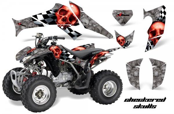Grafik Kit Dekor Checkered Skull Honda TRX 250EX / 250R Quad ATV Graphic Kit