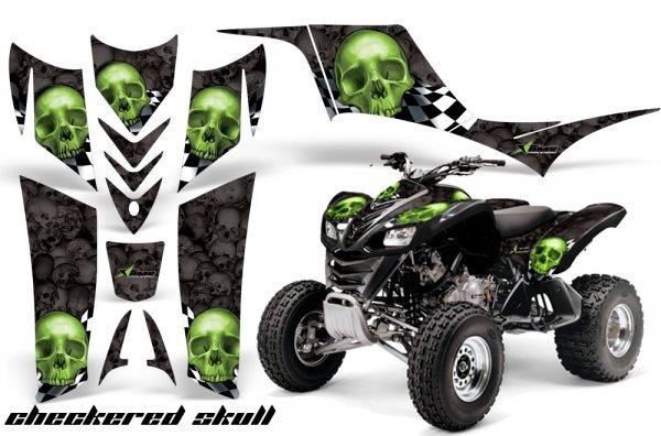 Grafik Kit Dekor Checkered Skull Kawasaki KFX 700 Quad ATV Graphic Kit