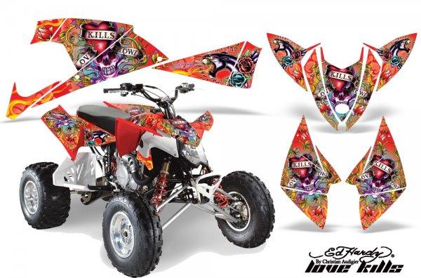 Grafik Kit Dekor Ed Hardy Love Kills Polaris Outlaw 450/500/525 09-11 Quad ATV Graphic Kit