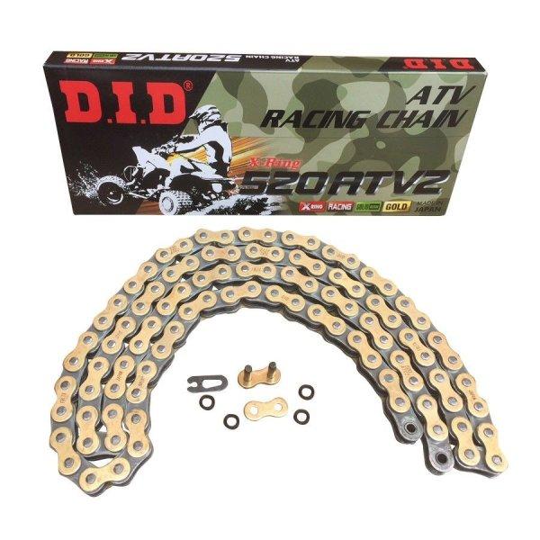 Quad Kette DID X-Ring Typ ATV 2 Gold / Schwarz mit Schloß 520 / 100 Glieder