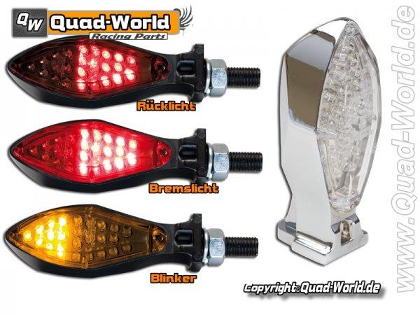 LED Blinker Rücklicht Kombination Micro-Space Chrom