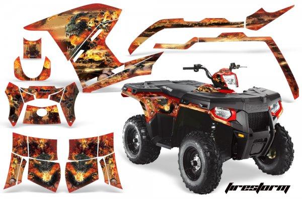 Grafik Kit Dekor Fire Storm Polaris Sportsman 800/500 Quad ATV Graphic Kit