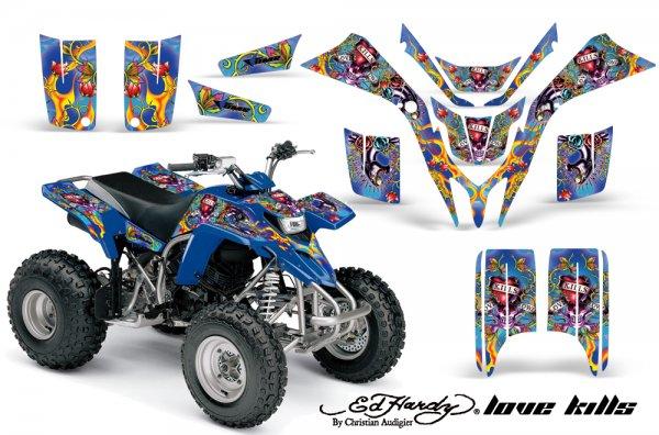 Grafik Kit Dekor Ed Hardy Love Kills Yamaha YFS 200 Blaster Quad ATV Graphic Kit