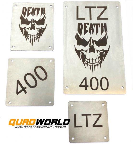 Quad Edelstahl Warnschilder Typ DEATH Suzuki LTZ 400 -08