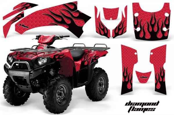 Grafik Kit Dekor Diamond Flames Kawasaki Brute Force 750 Quad ATV Graphic Kit