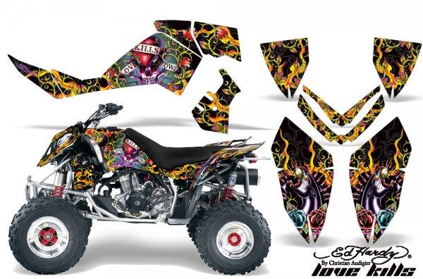Grafik Kit Dekor Ed Hardy Love Kills Polaris Outlaw 450/500/525 06-08 Quad ATV Graphic Kit