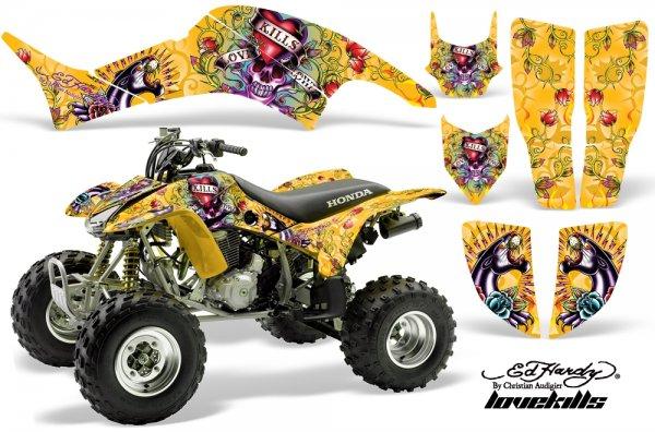 Grafik Kit Dekor Ed Hardy Love Kills Honda TRX 400EX 99-07 Quad ATV Graphic Kit