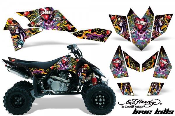Grafik Kit Dekor Ed Hardy Love Kills Suzuki LTR 450 Quad ATV Graphic Kit