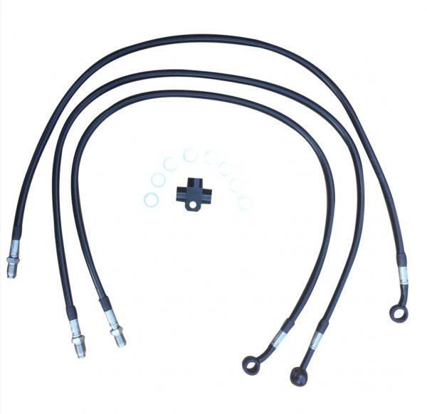 Stahlflex Bremsleitung Yamaha YFM 660R vorne schwarz +3 Zoll (7,5cm)